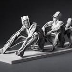Three men in a row, 2016, mixed Media,  Photo (Detail) © Ralph Rainer Steffens